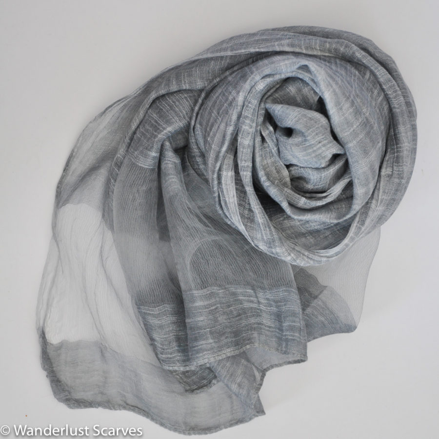 Scarves - silk silver w band