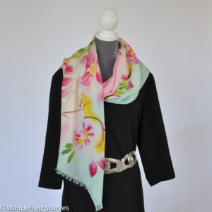 Fine Wool Floral Oblong Scarf