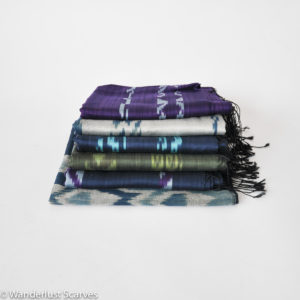Silk and Cotton Ikat Scarves