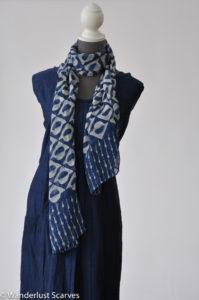 Silk Batik Indigo Geometric