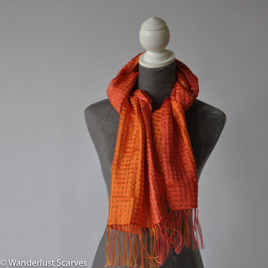 Vila Cini Basketweave Silk Scarf Narrow