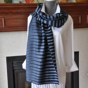 Handwoven Silk & Cotton Striped Indigo Scarf