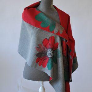 Reversible Cashmere Blend Floral Blanket Scarf