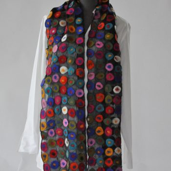 Dramatic multi coloured felted wool