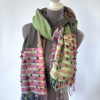 Cotton and Cashmere colour-blocked scarf
