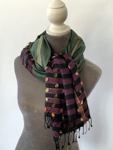 Cotton & cashmere colour-blocked scarf