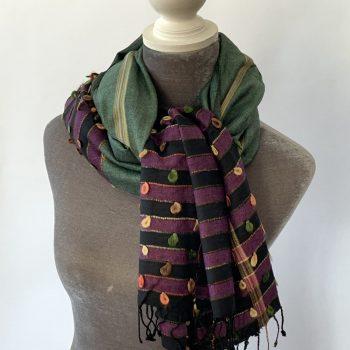 Cotton & cashmere colour-blocked scarf