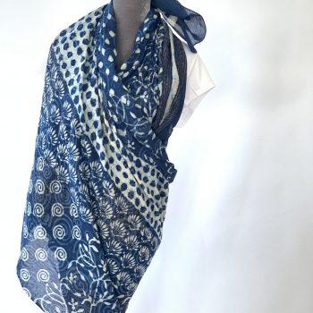 Handmade batik indigo scarf