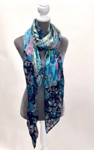 Navy/Teal Floral Silk Scarf