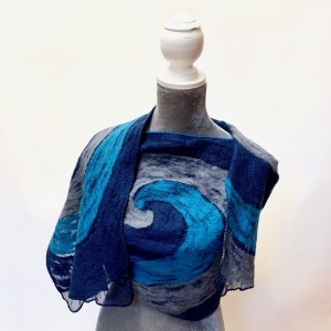 Lightweight Cozy, Nepalese Felted Wool Wrap